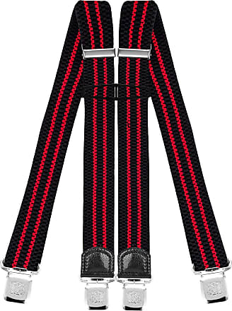 Decalen Mens Braces with Very Strong Clips Heavy Duty Suspenders One Size Fits All Wide Adjustable and Elastic X Style (Black Red)