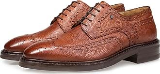 Floris Van Bommel Cognacfarbener Brogue-Schnürschuh aus Leder, Business Schuhe, Handgefertigt