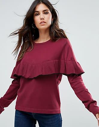 Liquorish Sweater With Ruffle Trim - Red