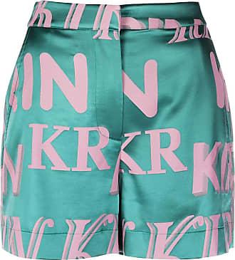 Kirin logo print high-waisted shorts - Green