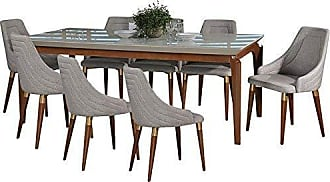 Manhattan Comfort 3-10141521013353 Payson & Utopia Large Complete Midcentury Modern Dining Set, Off- Off-White/Grey