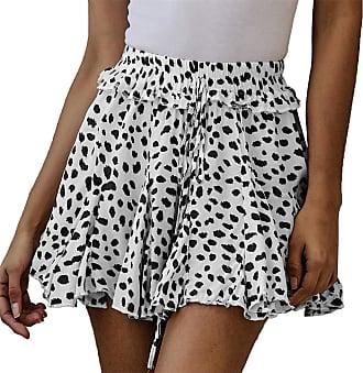 QIYUN.Z Womens Summer Cute High Waist Ruffle Skirt Floral Print Swing Beach Mini Skirt Black and White XL