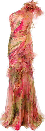 Marchesa one shoulder ruched gown - Multicolour