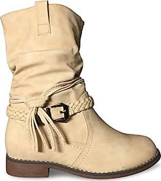 ca578bac51d5 Schuhtraum Damen Stiefel Stiefeletten gefüttert Boots Biker Schlupfstiefel  ST871 (38 EU, Beige)
