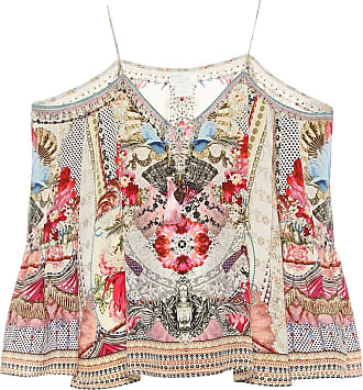 Camilla Embellished printed silk top