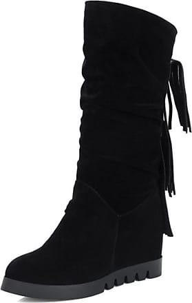 RAZAMAZA Women Fashion Fringe Pull On Casual Hidden Wedge Mid Calf Boots (36 AS, Black)