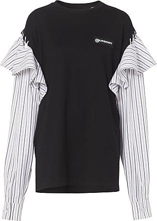 Burberry Suéter com mangas contrastantes e babados - Preto