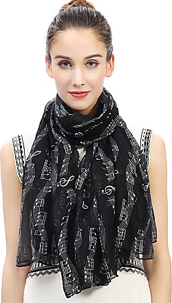 Lina & Lily Music Notes Print Womens Scarf Oversized (Black)