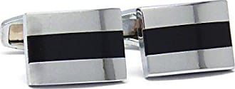 Ike Behar Mens Plated Cufflinks, Silver with Black, One size