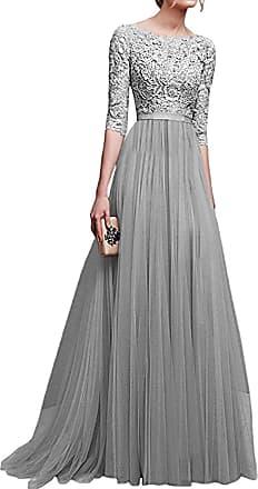 Minetom Womens Maxi Dress 3/4 Sleeve Formal Evening Lace Long Dress Ball Gown Princess Bride Wedding Dresses Elegant Sexy Grey UK 16