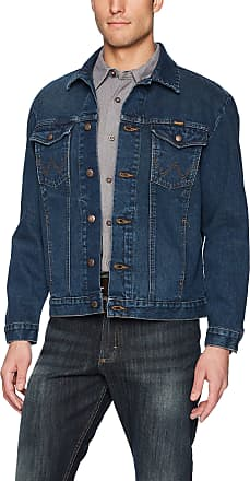 Wrangler Mens Western Style Denim Jacket outerwear, Dark Blue, Medium