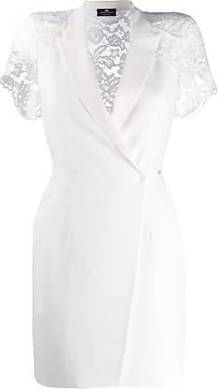 Elisabetta Franchi Vestido com renda nas mangas - Branco