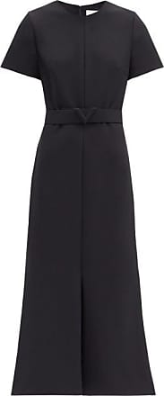 Valentino Belted Flared Cady Dress - Womens - Black