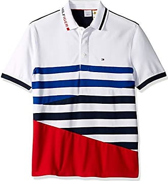 b498f689 Tommy Hilfiger Mens Adaptive Polo Shirt with Magnetic Buttons Custom Fit,  Bright White/Medium