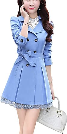 Yonglan Womens Slim Fitted Floral Lace Belted Double Breasted Jacket Trench Coat Sky Blue M