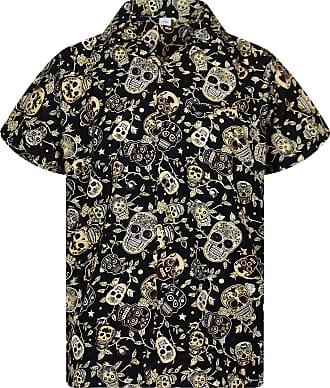 V.H.O. Funky Hawaiian Shirt, Shortsleeve, Skull, Sepia, 4XL