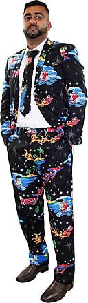 True Face Mens Coats Pants Christmas Blazers Trousers Novelty Fancy Costume (L, Suit-Black)