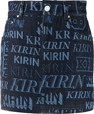 Kirin Saia jeans com estampa de logo - Azul
