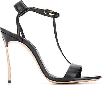 Casadei metallic heel T-bar sandals - Black