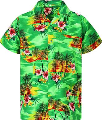 V.H.O. Funky Hawaiian Shirt, Pink Flower, Green, XL