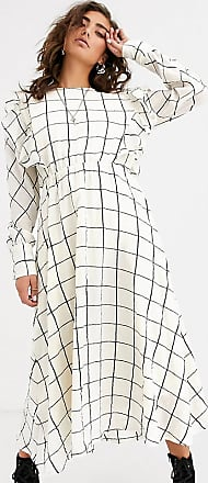 Object grid check midi dress with ruffle detail-Cream