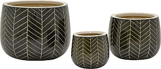 Three Hands Chevron Ceramic Planters - Set of 3