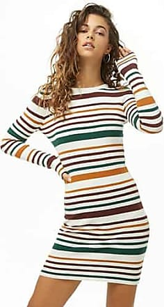 Forever 21 Forever 21 Variegated-Stripe Bodycon Dress Ivory/gold