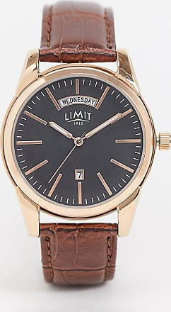 Limit faux leather watch in brown with black dial