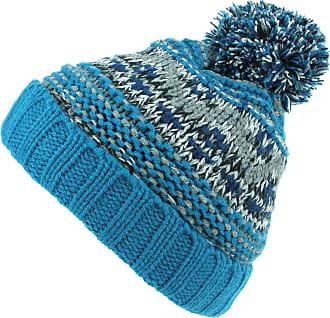 Hawkins Childrens Chunky Knit Fairisle Bobble Beanie Hat with Fleece Lining - Blue