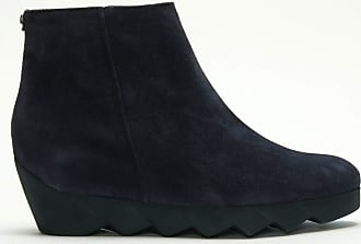 f1353dd83573 Högl Nora Navy Suede Serrated Wedge Ankle Boots 37 Navy Suede
