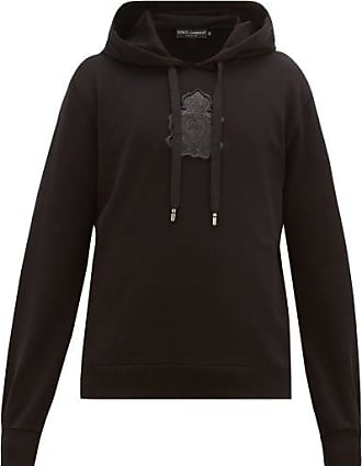 Dolce & Gabbana Logo-plaque Loopback-cotton Hooded Sweatshirt - Mens - Black