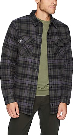Volcom Mens Sherpa Flannel Snow Jacket Insulated, Black, Large