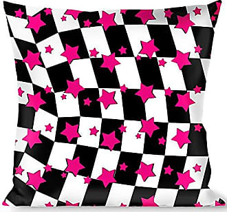 Buckle Down Pillow Decorative Throw Checker Stars Black White Pink