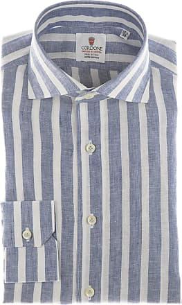 Cordone 1956 Camicia sartoriale Mod. Linen Big Stripes Blu And White - Tessuto lino - Colore blu - Taglia 36