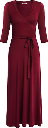 Meaneor Women V Neck Wrap Tie Waist Maxi Dress 3/4 Sleeve Floral Full Long Dres,Wine Red/XXL