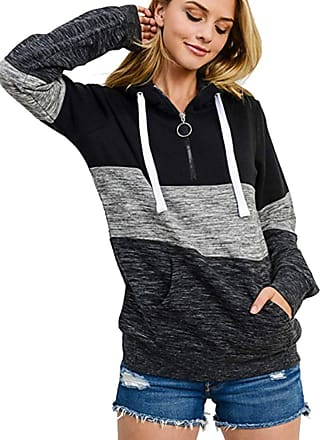 OLIPHEE Womens Long Sleeve Hoodie Ladies Fleece Casual Pullover Patchwork Striped Jumper with Kanga Pocket Top Black M