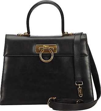 427bb5ca9c56 Salvatore Ferragamo Black Calf Leather Gancini Satchel