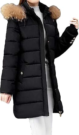 VITryst Womens Cuff Button Fur Hooded Zipper Warm Mid Length Down Outwear Jackets with Pockets,Black,XX-Large
