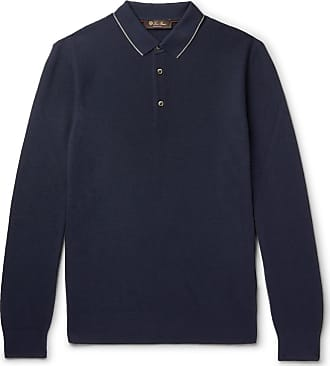 Loro Piana Contrast-tipped Wool And Cashmere-blend Piqué Polo Shirt - Navy