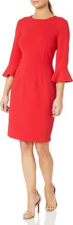 Donna Morgan Womens Tulip Sleeve Square Neck Crepe Sheath Dress