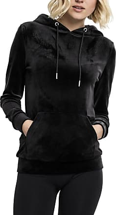 Urban Classics Womens Ladies Velvet Hoody Hooded Sweatshirt, Black (Black 7), M
