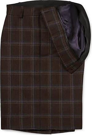 Y / Project Asymmetric Checked Wool Skirt - Dark brown