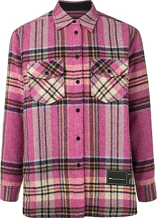 We11done plaid wool overshirt - PINK