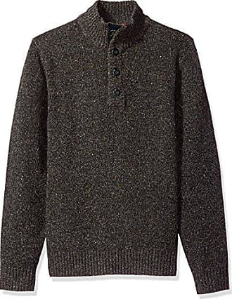 G.H. Bass & Co. Mens Mountain Donegal Long Sleeve 1/4 Button Solid Sweater 7GG, Anthracite, Small