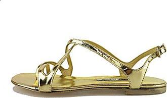 fafb3fe3b68e62 Manas Sandalen Damen glänzendem Leder Gold 37 EU