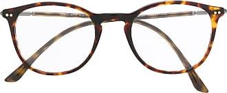 Giorgio Armani Armação de óculos angulada - Marrom