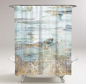 The Oliver Gal Artist Co. The Oliver Gal Artist Co. Oliver Gal Love Teal, Gold Decorative Shower Curtain, 71 x 74, Blue
