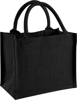 Westford Mill Jute Mini Gift Bag (6 Litres) (One Size) (Black/Black)