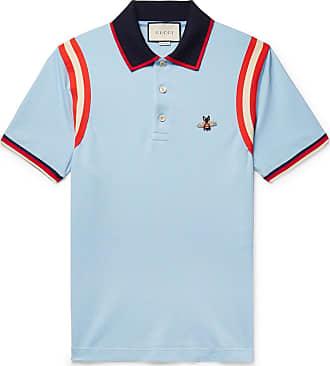 ad0a98b7e Gucci Appliquéd Striped Cotton-blend Piqué Polo Shirt - Sky blue
