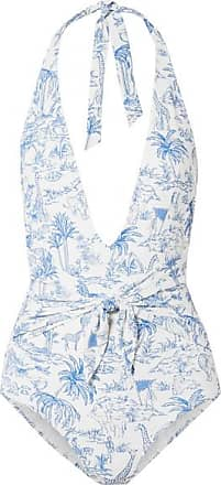 d2f13d8cabd79 Tory Burch Tie-detailed Printed Halterneck Swimsuit - Blue